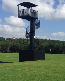 Football field spiral staircase